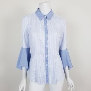 WHBM Striped Bell Sleeve Button Down Blouse Sz 10